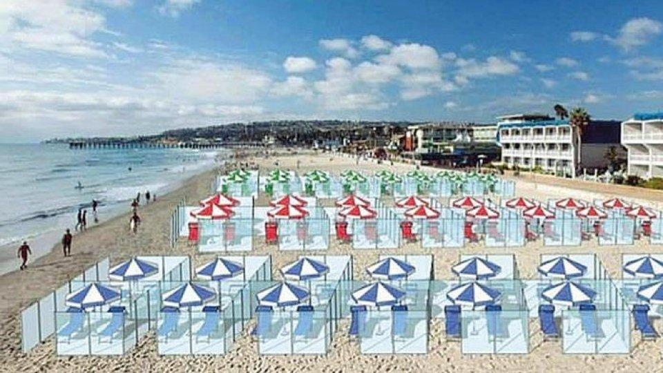 Il rendering dei box su una spiaggia romagnola (Ansa)