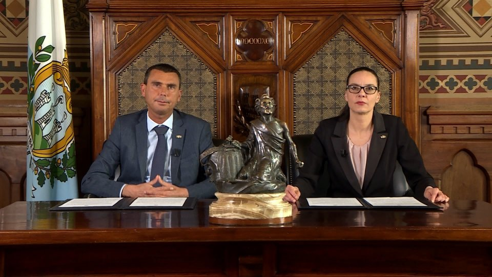 Alessandro Mancini e Grazia ZafferaniIl messaggio dei Capitani Reggenti