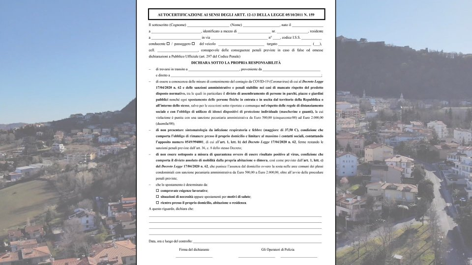 San Marino: la nuova autocertificazione, valida da lunedì 20 aprile