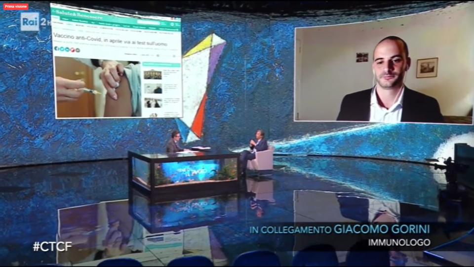 Giacomo Gorini in collegamento con Fabio Fazio e Roberto Burioni