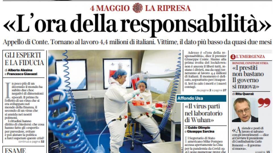 Il titolo d'apertura del Corriere della Sera