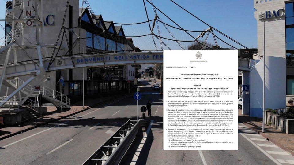 Spostamenti in territorio, da e verso San Marino: arrivano i chiarimenti dal Congresso di Stato