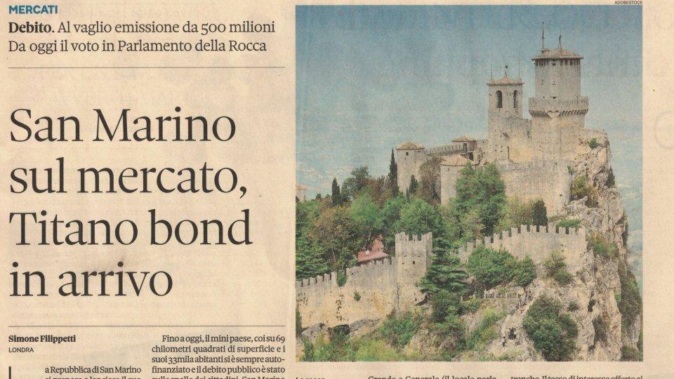 """San Marino su Il Sole 24 ore, fra """"Titano Bond"""" e """"strade alternative per uscire dal tunnel"""""""