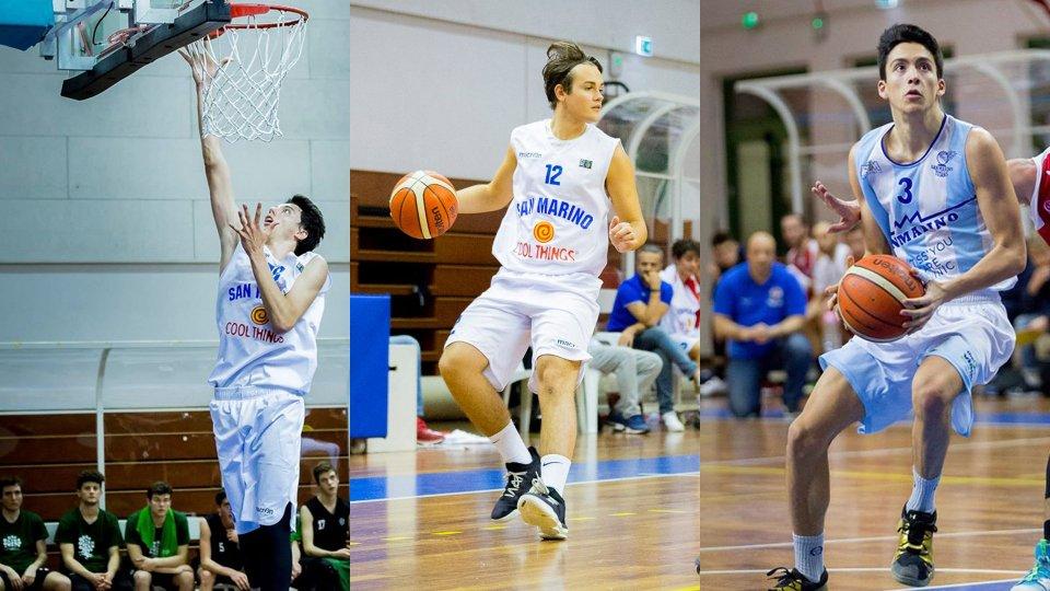 Nicolò Botteghi, Edoardo Pasolini e Francesco Palmieri (@pallacanestro.titano)