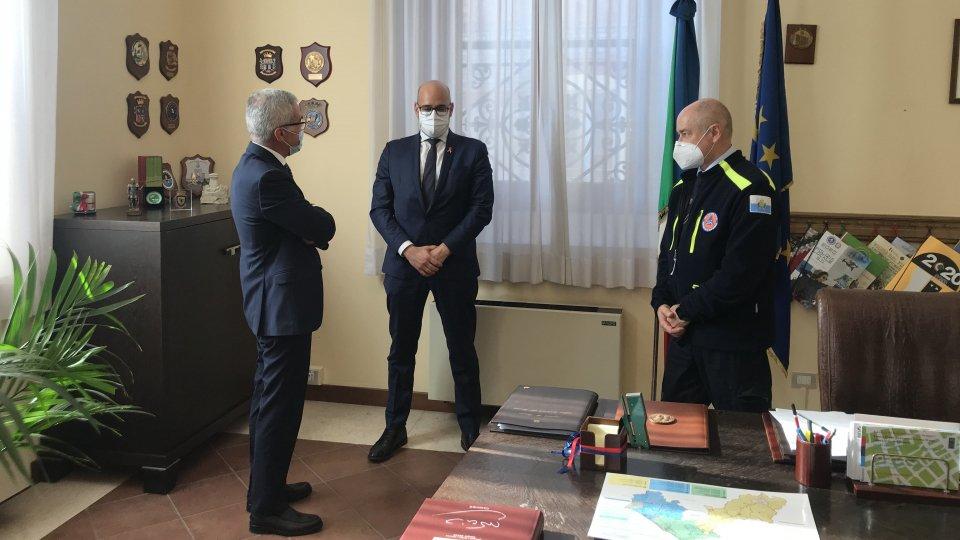 Il Segretario alla Sanità, Ciavatta e il Capo della Protezione Civile, Berardi incontrano il Prefetto di Rimini, Forlenza