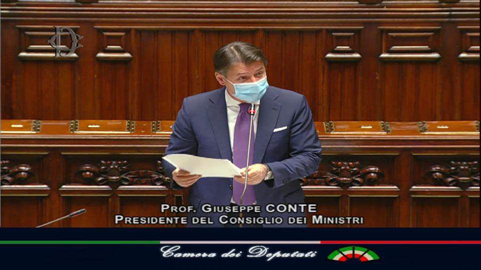 Giuseppe Conte durante il suo intervento