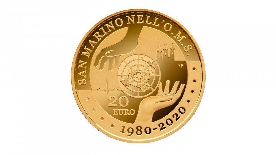 UFN: Moneta da 20 euro in oro per il 40° anniversario dell'adesione di San Marino all'O.M.S