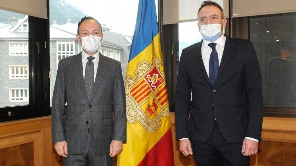 Il capo di Governo Xavier Espot e il Segretario Luca Beccari
