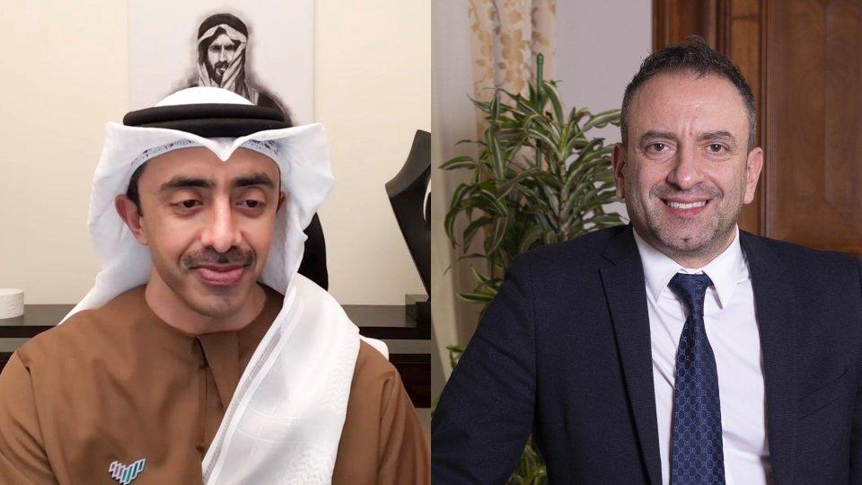 Incontro tra il Segretario di Stato Beccari e il Ministro degli Affari Esteri e della Cooperazione internazionale degli Emirati Arabi Uniti
