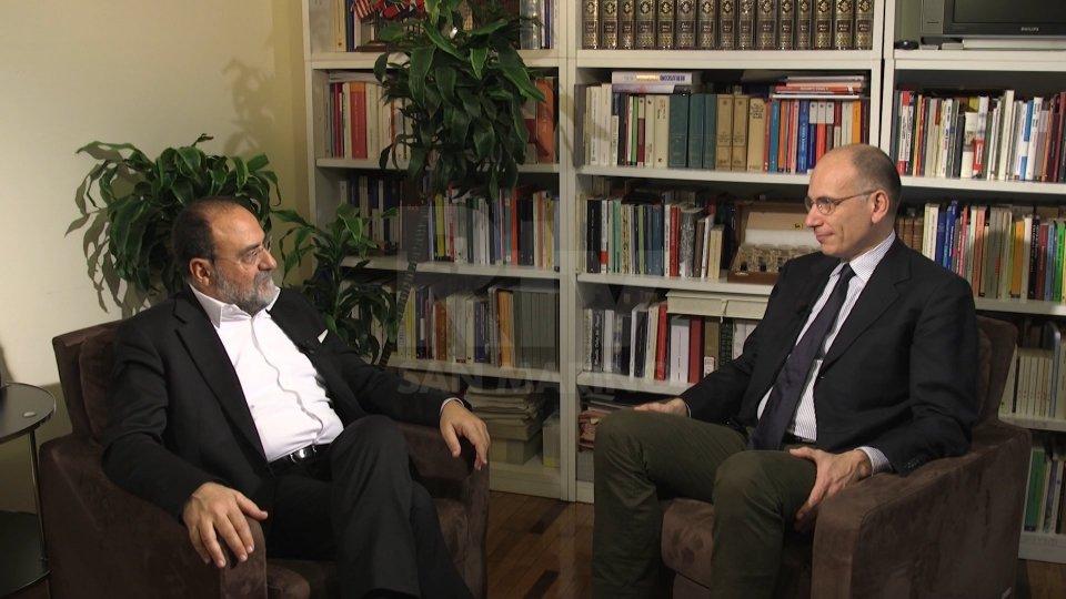 Il Dg Carlo Romeo e Enrico Letta. L'intervista andrà in onda questa sera alle 22:05 su San Marino RTV