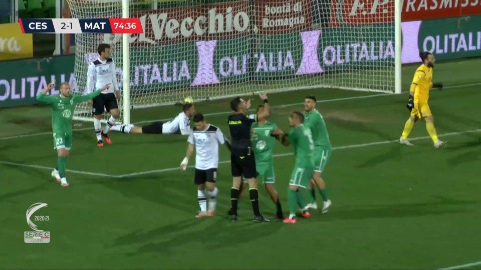 Il Cesena scappa poi il Matelica rimonta col giallo