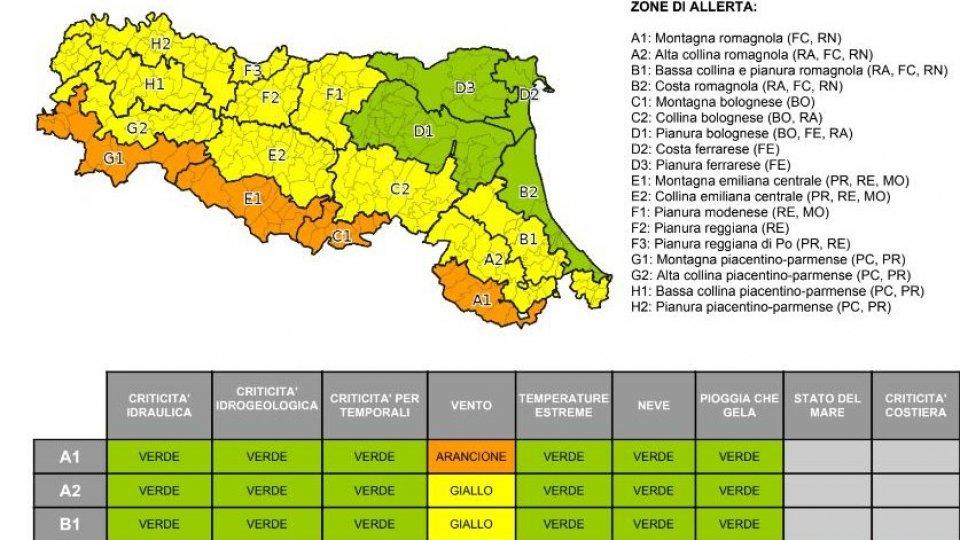 Allerta meteo su San Marino ed Emilia Romagna per venti forti