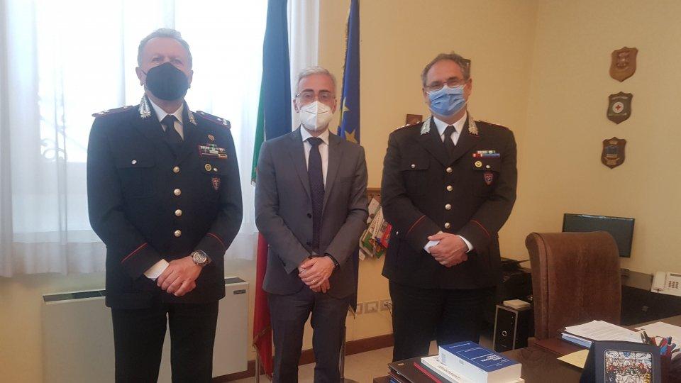 """Il Comandante della Regione Carabinieri Forestali """"Emilia Romagna"""" in visita dal Prefetto"""