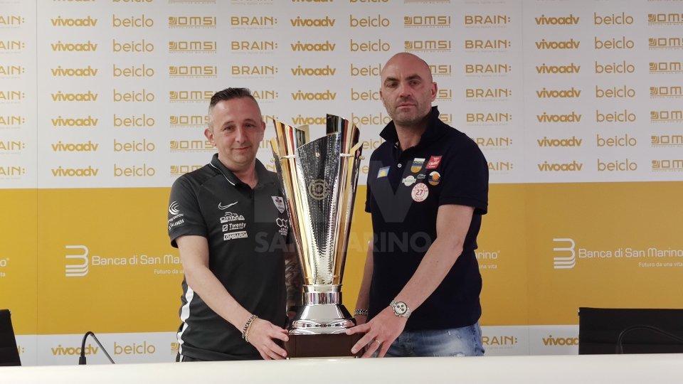 Nicola Berardi e Omar Lepri tecnici di La Fiorita e Folgore con il trofeo che vale lo scudetto di San Marino.Sentiamo Omar Lepri e Nicola Berardi