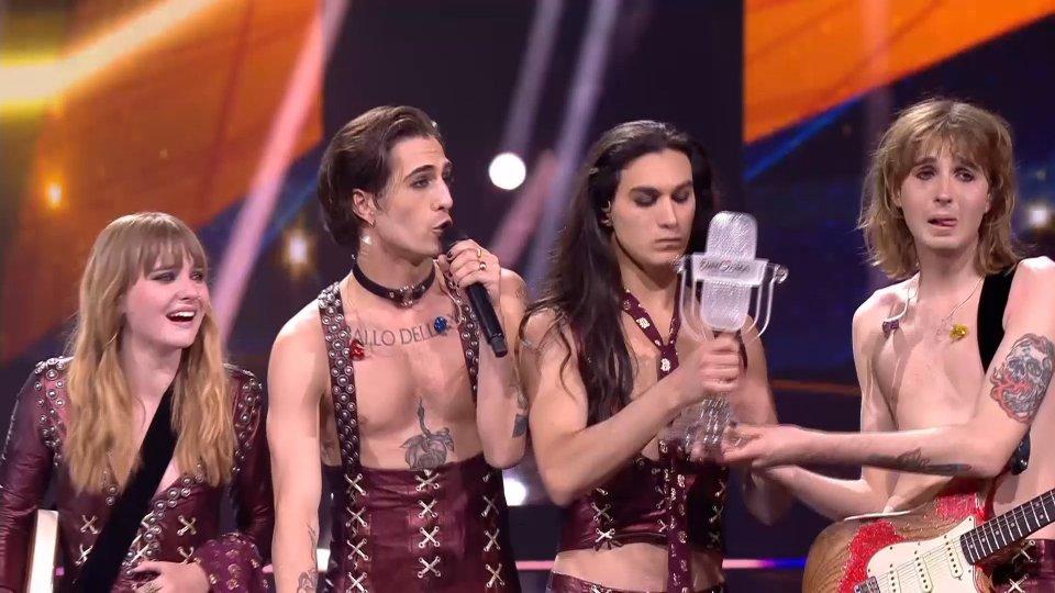 """@eurofestivalnewsI Måneskin trionfano all'Eurovision, Damiano: """"Il Rock'n roll non morirà mai"""""""