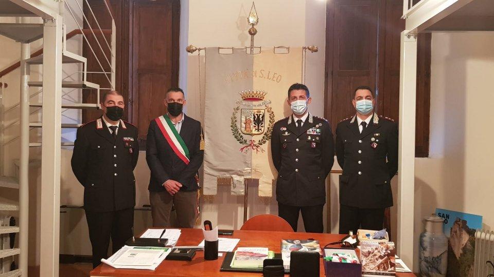 Il Colonnello Mario La Mura Comandante provinciale dei Carabinieri di Rimini  in visita al Comune di San Leo
