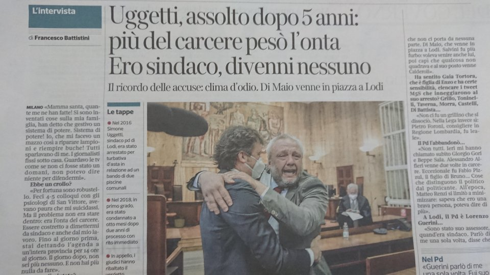 La pagina del Corriere della Sera