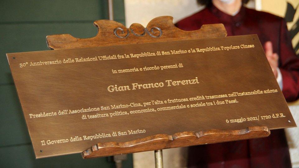Svelamento targa commemorativa in memoria di Gian Franco Terenzi e presentazione Emissione Filatelica dedicata al 50^ anniversario delle relazioni ufficiali San Marino-Cina