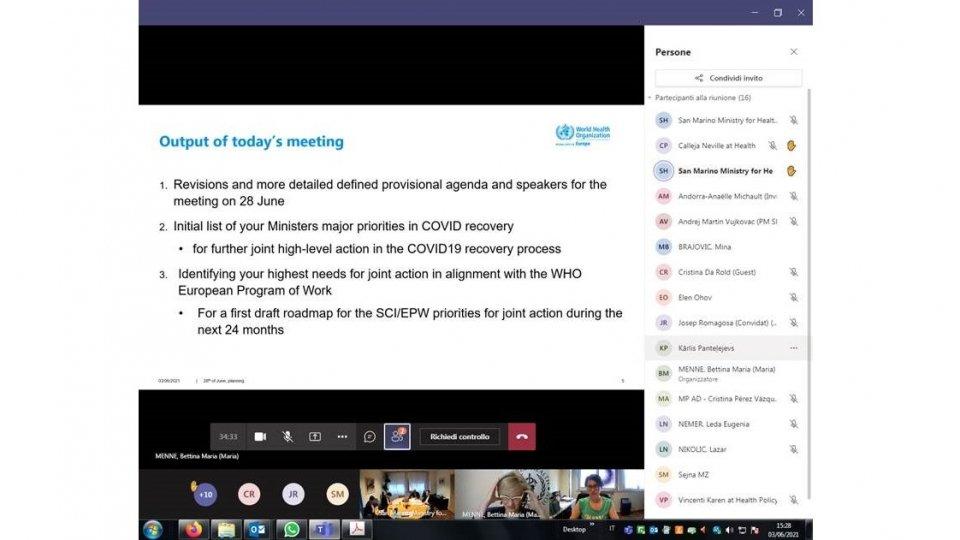 Segreteria Sanità: OMS – Meeting Small Countries Initiative, Meeting online organizzato dall'Ufficio OMS di Venezia