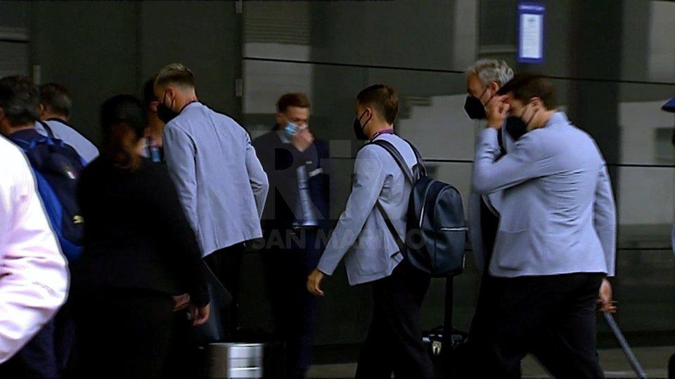 L'arrivo degli Azzurri a Wembley