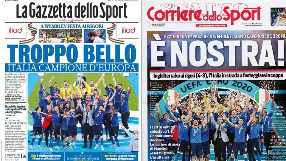 Europei di calcio: dalla gioia alle lacrime, le prime pagine di alcuni quotidiani in edicola oggi