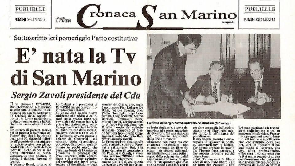 L'articolo della Gazzetta di Rimini sulla nascita di San Marino RTV