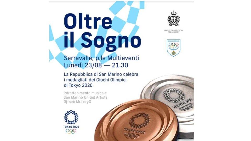 San Marino celebra le medaglie di Tokyo lunedì 23 agosto