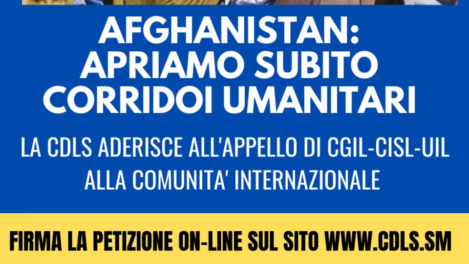 Cdls aderisce all'appello: Afghanistan ponti aerei senza esclusioni