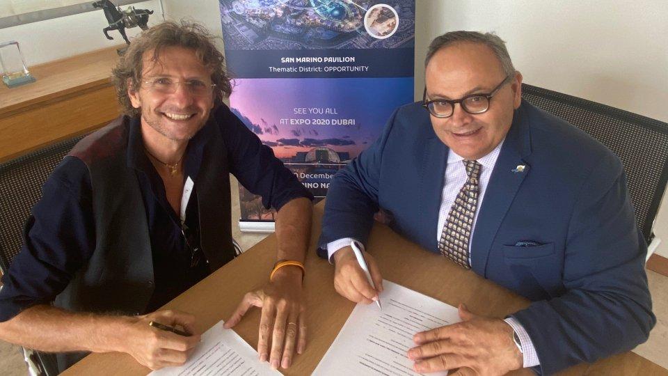 Enrico Cuini firma l'accordo di sponsorizzazione del Padiglione di San Marino a Expo Dubai 2020