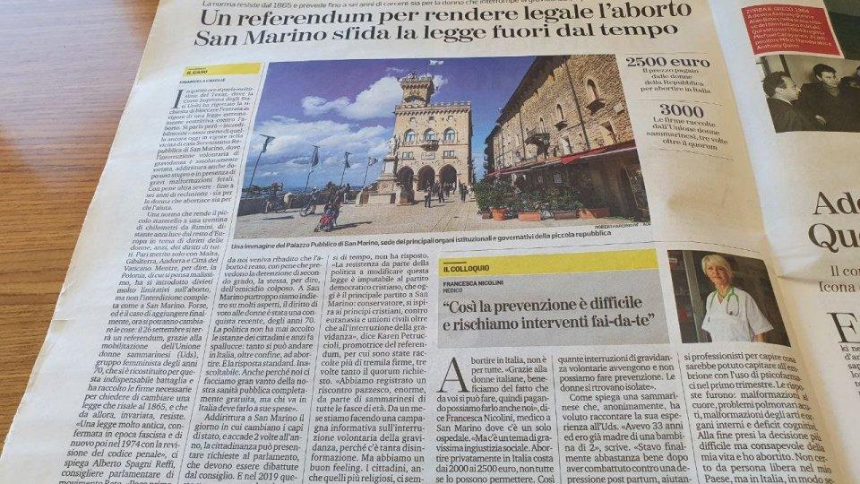 """Il referendum sull'aborto a San Marino nelle pagine de """"La Stampa"""""""