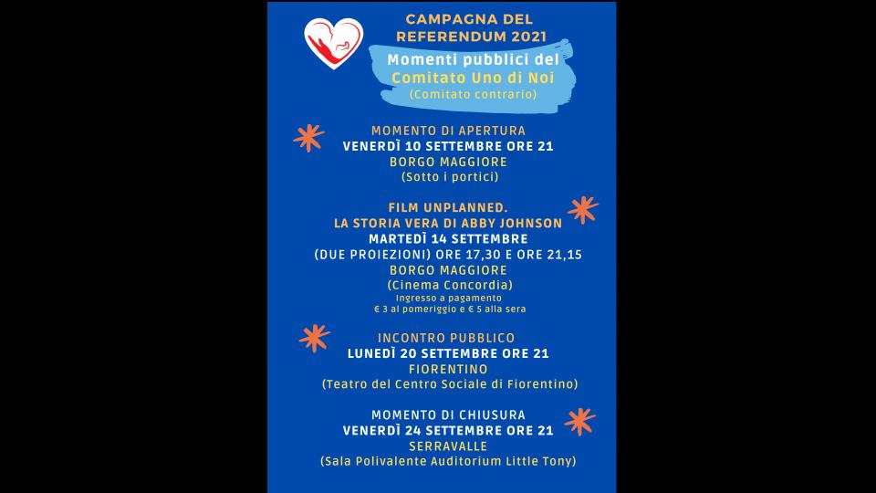 Campagna referendaria del Comitato Uno di Noi