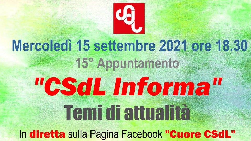 "Mercoledì 15 settembre nuova puntata di ""CSdL Informa"""