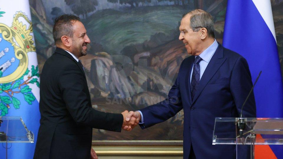 Il Segretario Luca Beccari e il Ministro Sergej Lavrov