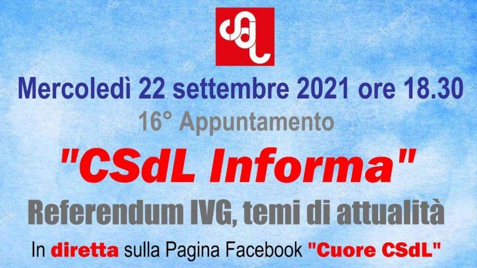 """Domani 16° appuntamento di """"CSdL Informa"""""""