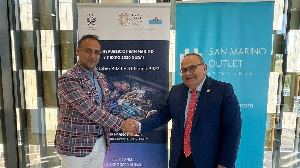 Siglato l'accordo di sponsorizzazione tra San Marino Outlet Experience e il Padiglione San Marino a Expo Dubai 2020