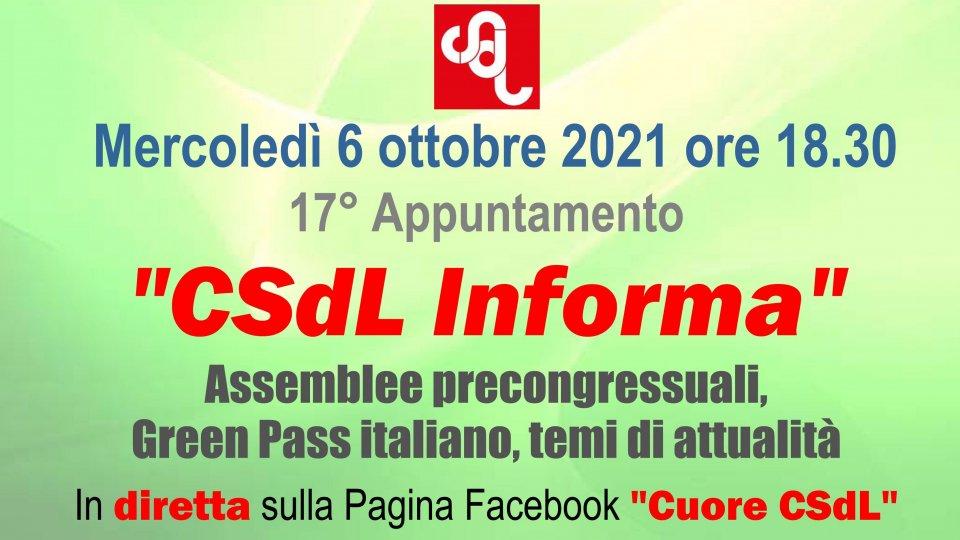 "Mercoledì 6 ottobre nuova puntata di ""CSdL Informa"""