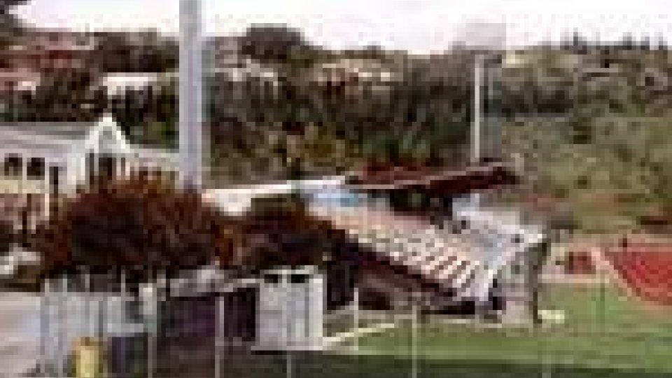 Lavori allo stadio di Serravalle