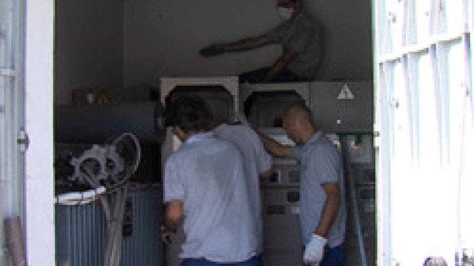 I lavori in corso nella cabina di Via del Bando
