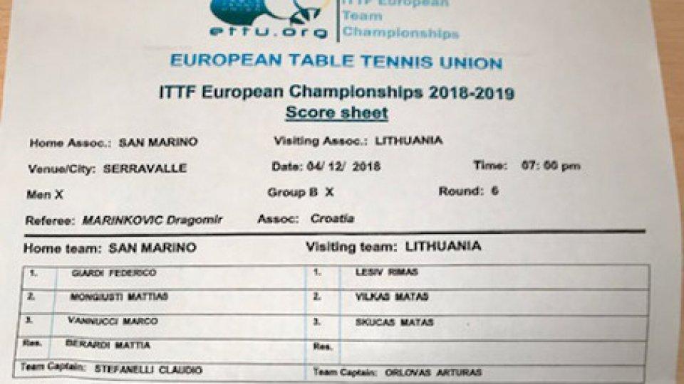 Tennistavolo: San Marino / Lituania European Mach Nantes 2019