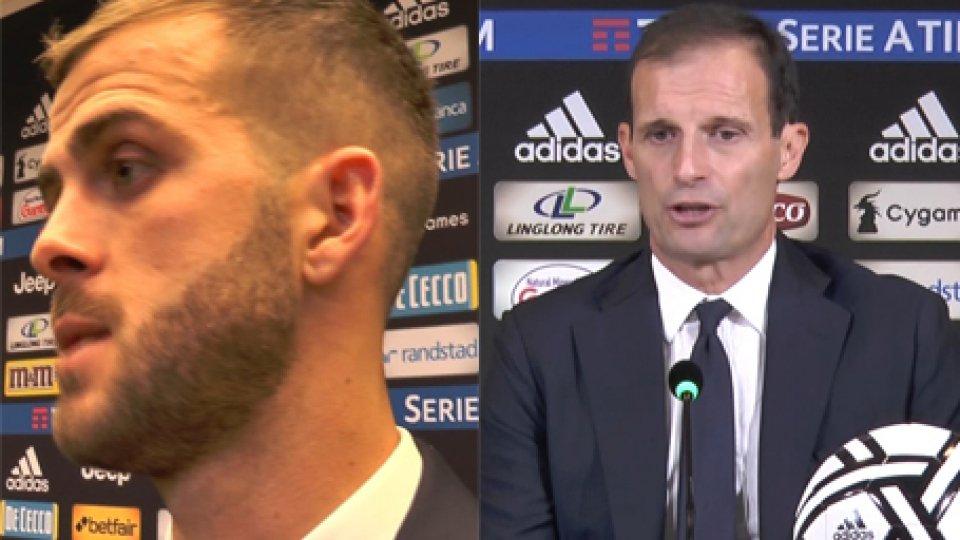 Miralem Pjanic e Massimiliano AllegriJuventus-Genoa, le interviste