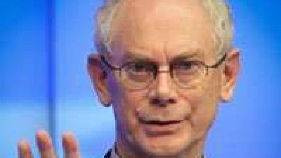 """Vertice Ue, Van Rompuy """"non siamo ancora fuori da crisi"""""""