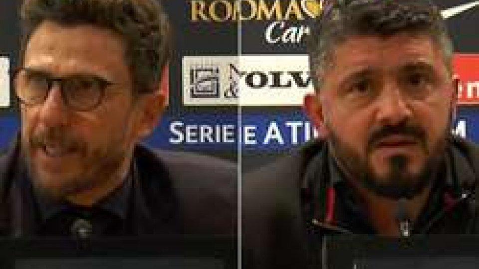 Di Francesco e GattusoRoma - Milan 0-2, Gattuso mantiene il profilo basso
