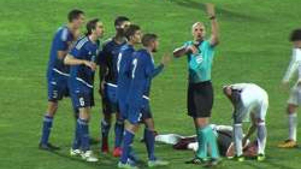 L'espulsione di CevoliUnder 21: la Nazionale sammarinese penalizzata dall'espulsione di Cevoli. La Grecia ne approfitta con 5 reti