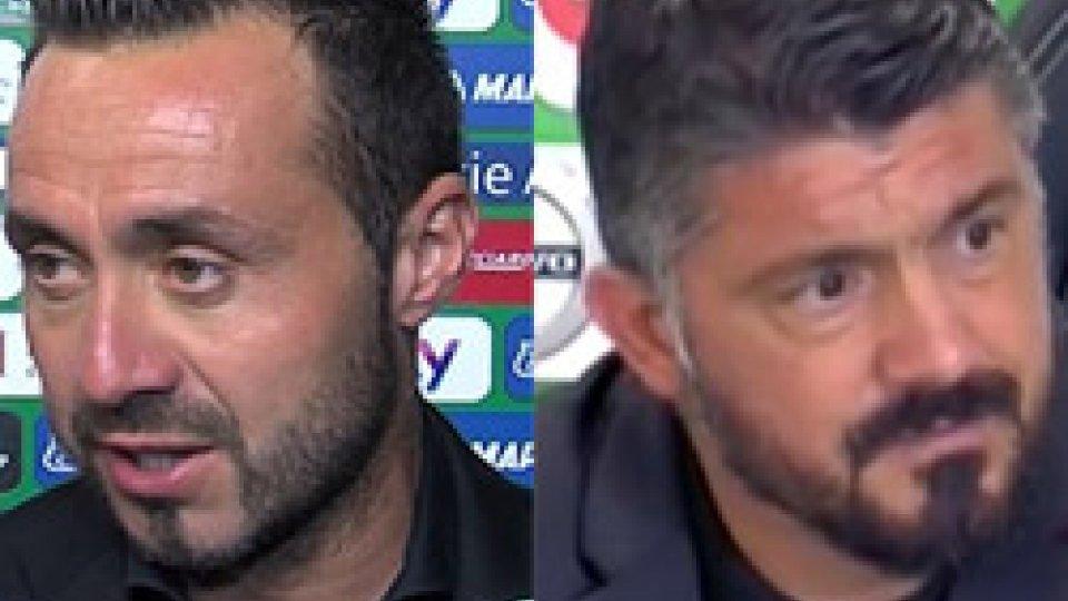 """De Zerbi - GattusoIl Milan torna alla vittoria, Gattuso: """"Tolto un peso dalla mente"""""""