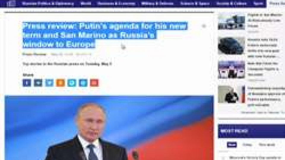 """sito 'Tass'Apertura San Marino alle imprese russe, Segretario Zanotti chiarisce: """"Il Paese non è strumento per aggirare sanzioni"""""""