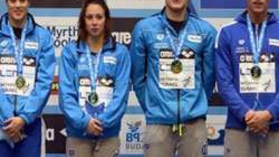Europei nuoto: primo oro italiano coi ragazzi de 4x50 mistiEuropei nuoto: primo oro italiano coi ragazzi de 4x50 misti