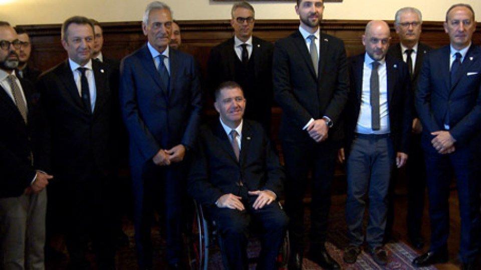 Gabriele Gravina in udienza dalla ReggenzaIl numero uno della FIGC Gabriele Gravina in udienza dalla Reggenza