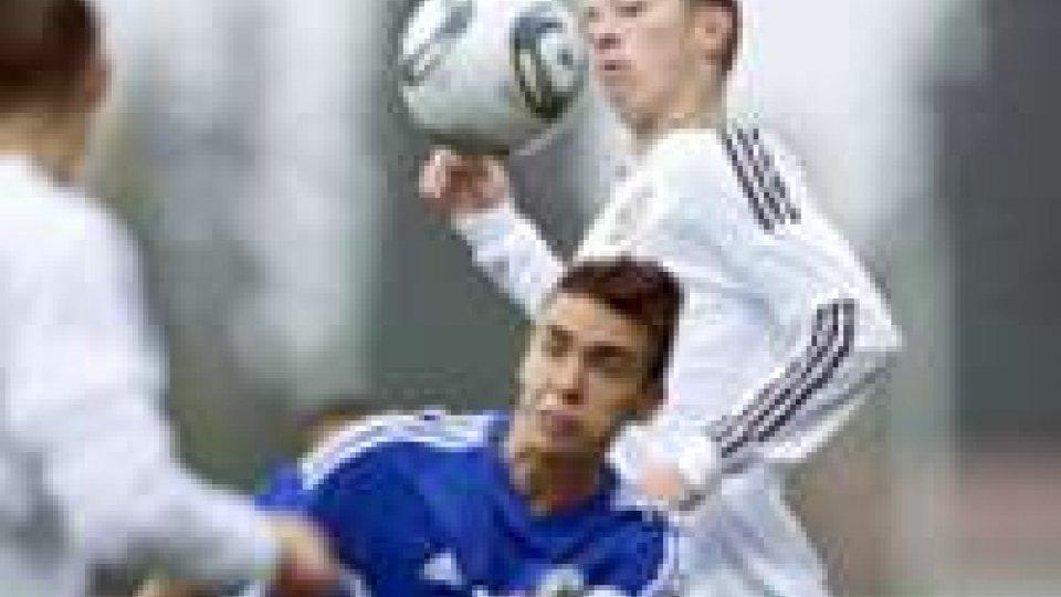 Fabio Tomassini nella sfida alla Germania. Suo l'unico gol sammarinese che regala pareggio e terzo posto alla nazionale di Papini