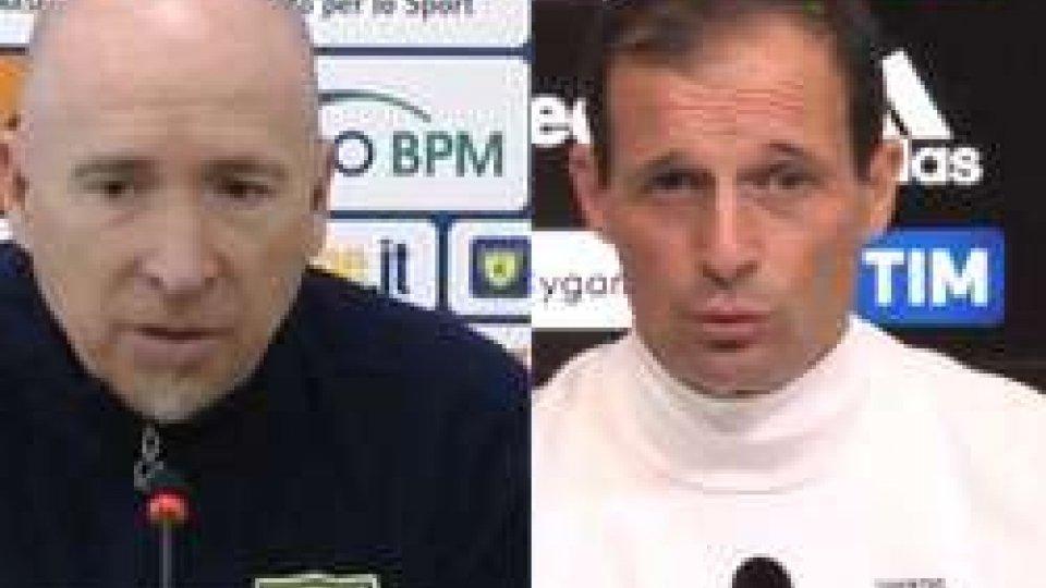 Rolando Maran e Massimiliano AllegriSerie A, gli anticipi di oggi:  Sassuolo-Atalanta e Chievo-Juventus