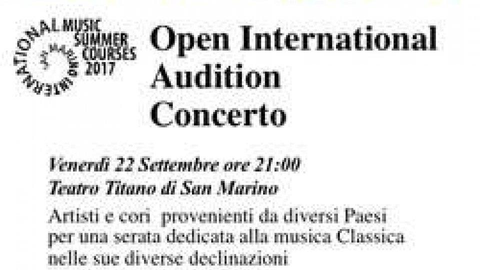 San Marino International Music Summer Courses e Rassegna Musicale: venerdì Open International Audition